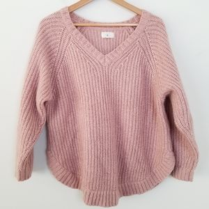 Lou & Grey Pink V-neck Oversized Sweater, M